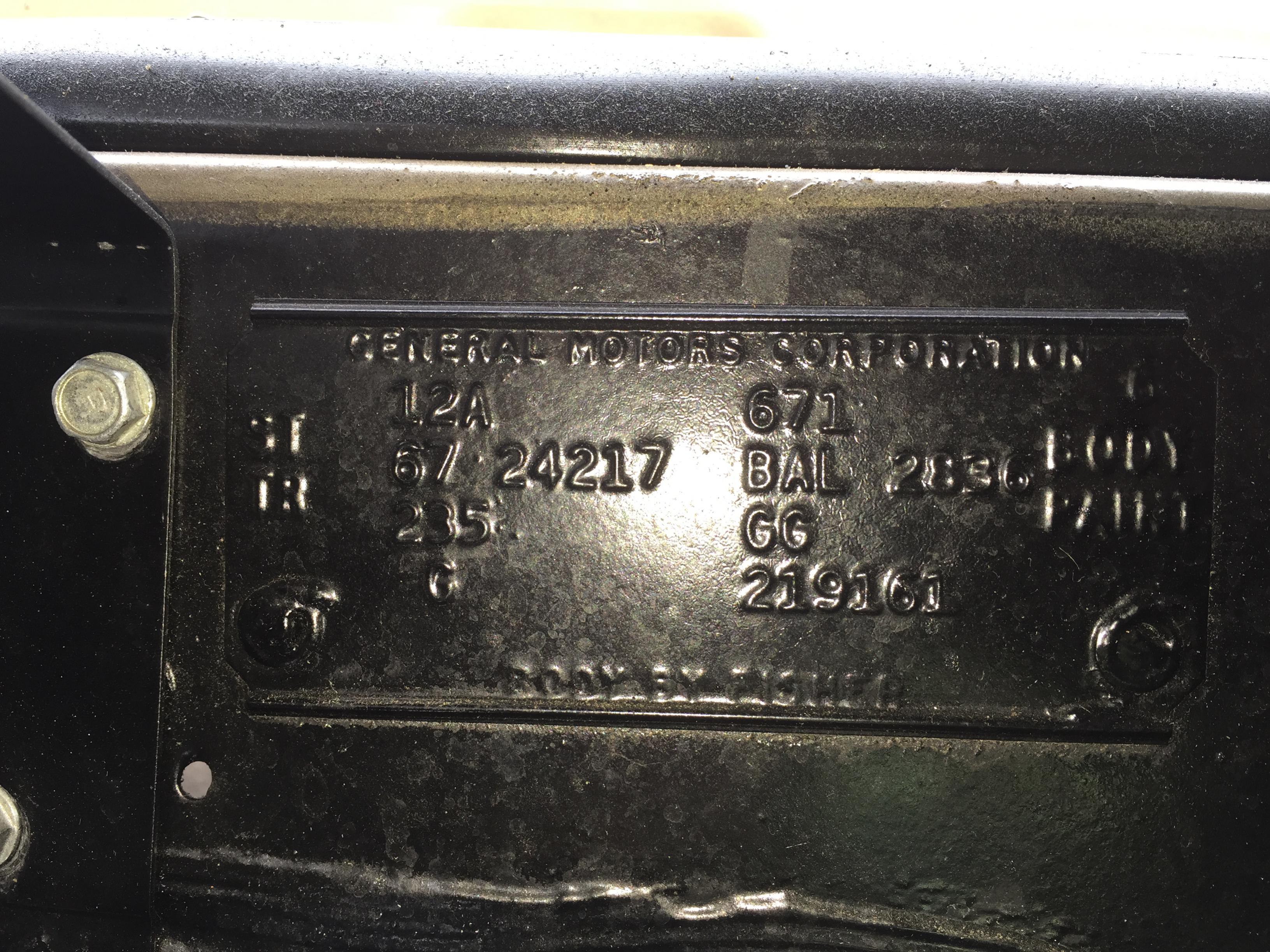 1967 GTO Data Plate Decode - Pontiac GTO Forum